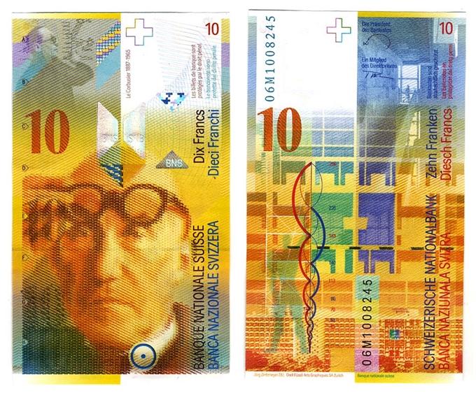 功績を称えられてスイスの紙幣である10フランにル・コルビュジエの肖像と作品が描かれている。